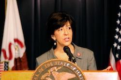 Illinois Representative Sara Feigenholtz, sponsor of the benefit incorporation legislation, speaks at the press conference on Jan. 2.